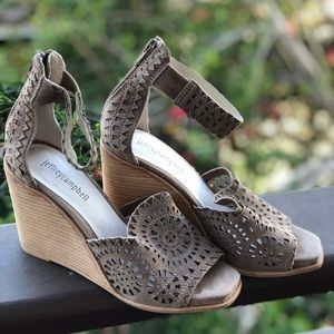Jeffrey Campbell Del Sol Taupe Suede Wedge Sandals